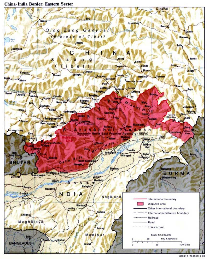 La région disputée du Tibet du Sud devenue l'Arunachal Pradesh indien (source : Wikimedia commons/CIA)